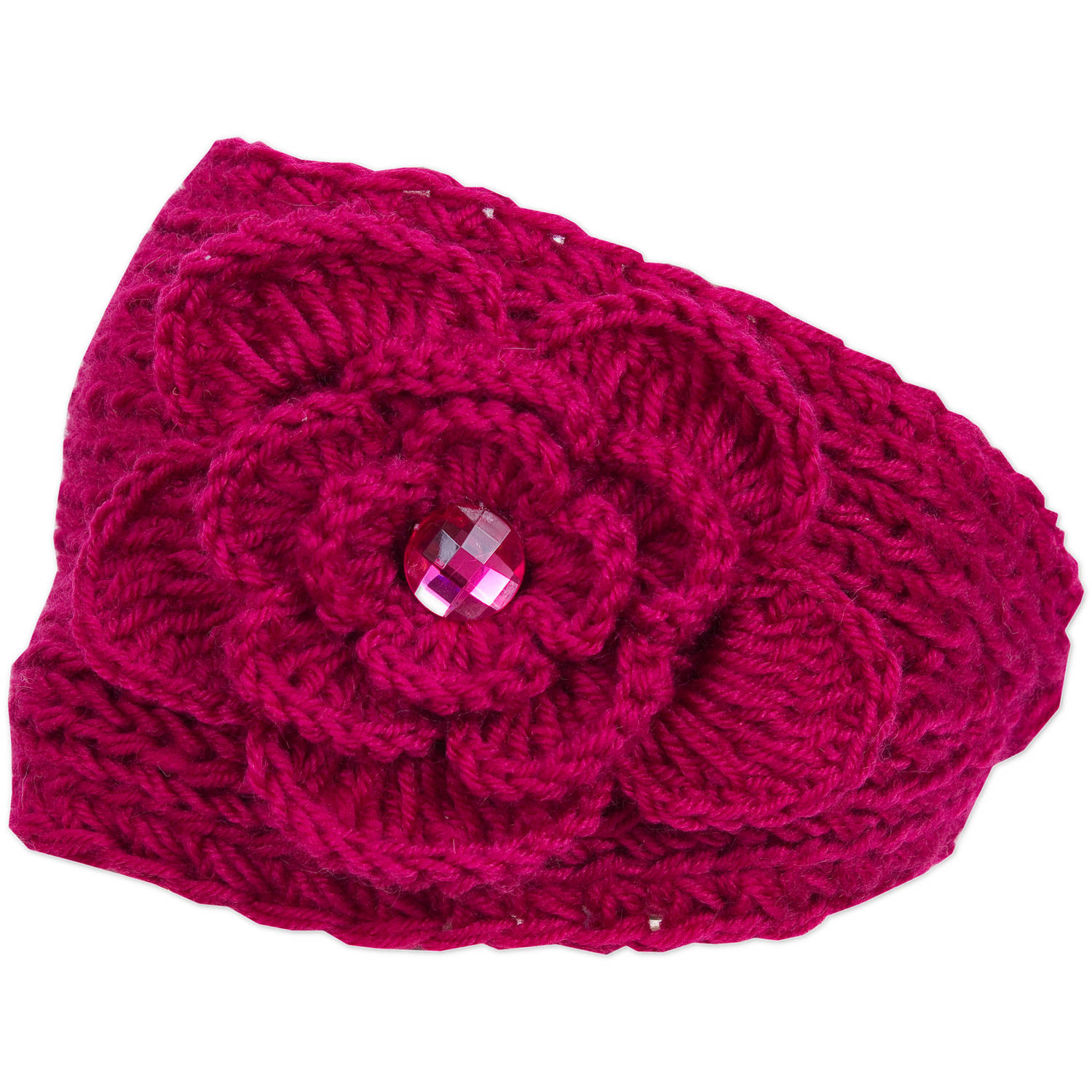 Magid Headwrap with Flower & Rhinestone, Fuchsia
