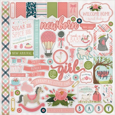 """Rock - A - Bye Baby Girl Cardstock Stickers 12"""" x 12"""""""
