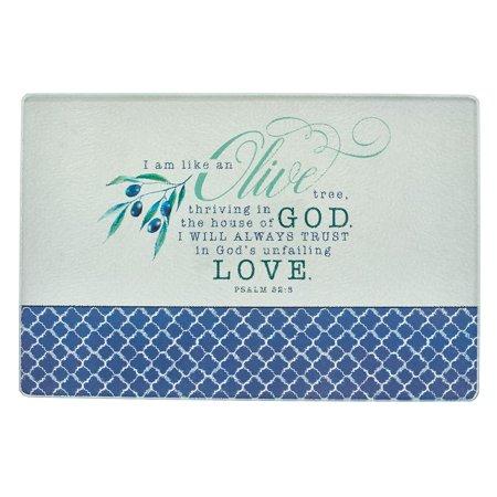Christian Art Gifts Olive Branch - Medium Glass Cutting Board