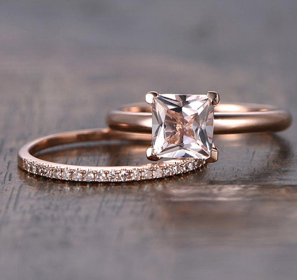Limited Time Sale: 1.25 Carat Peach Pink Morganite (princess cut Morganite) Diamond Bridal Wedding Ring Set in 10k Rose... by JeenJewels