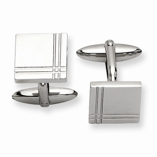 Stainless Steel Engravable Polished Cuff Links