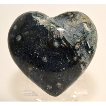 """3"""" Blue Green White Moss Agate Puffy Heart Natural Decor Crystal Polished Chalcedony Mineral Stone Heart - India + Acrylic Display Stand"""