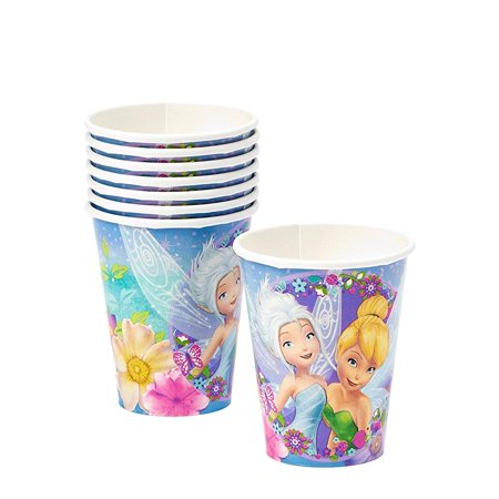 disney tinkerbell printed cups birthday party disposLle drinkware (8 pack), purple/blue, 9 oz.