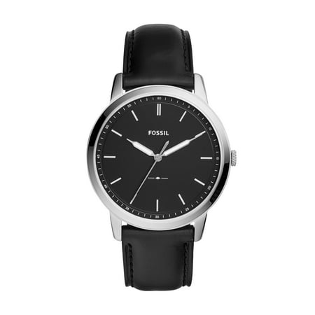 Men's The Minimalist FS5398 Matte Silver Leather Japanese Quartz Dress (Black Leather Dress Watch)