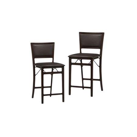 Sensational Set Of 2 24 Pad Back Folding Counter Stool In Espresso Beatyapartments Chair Design Images Beatyapartmentscom