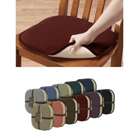 Premium Memory Foam Non-Slip Ultra Soft Chenille Surface Chair Pad Cushions - Assorted Colors