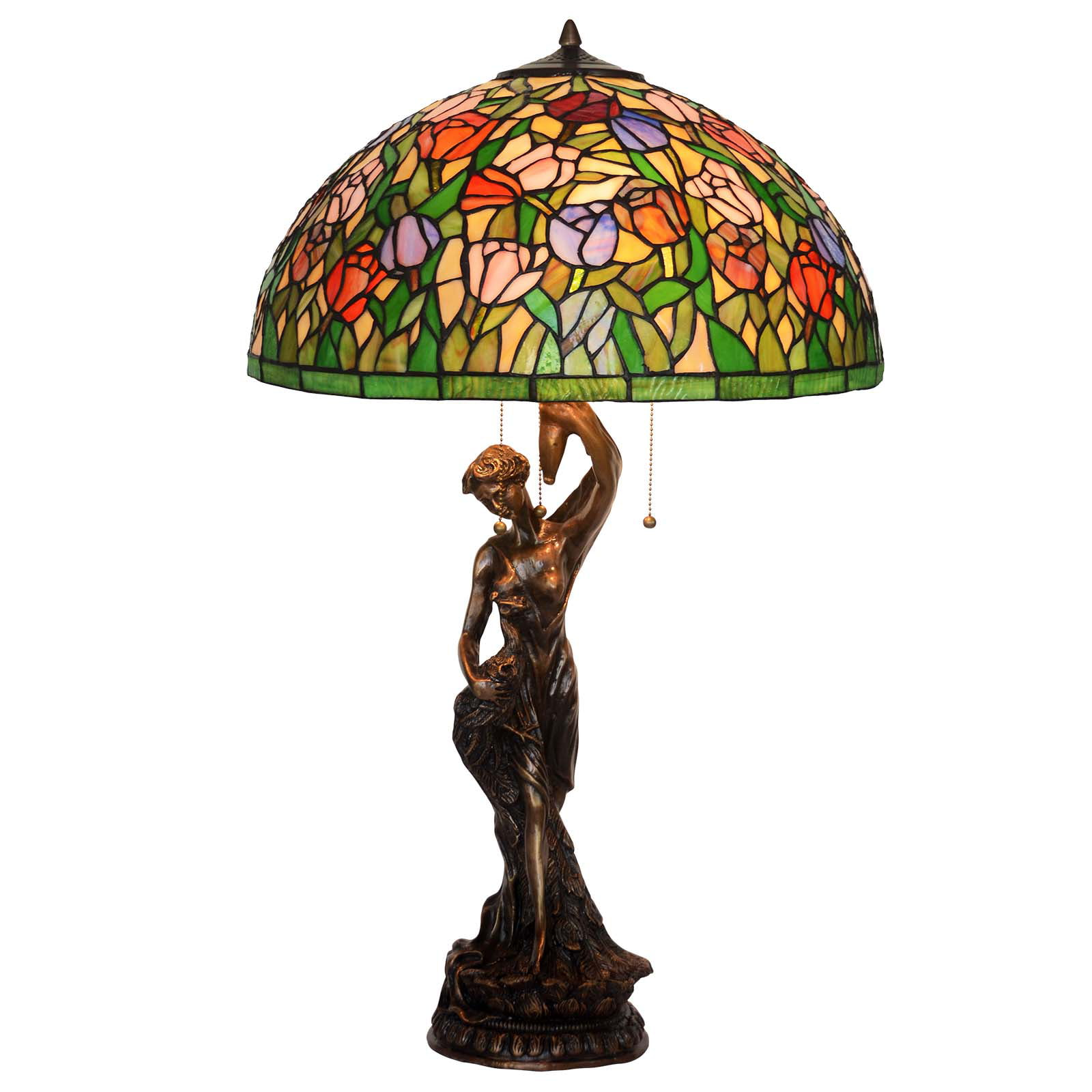 Bieye L 20 inches Tulip Tiffany Style Stained Glass Table Lamp