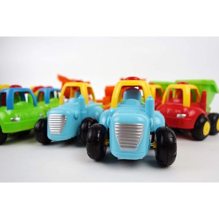 NBD Happy Singing Trucks - Friction Powered Cars Push and Go Toy Set of Eight Vehicles 2 Tractors, 2 Bulldozers, 2 Cement Mixer Trucks, 2 Dump Trucks, for 1 2 - Unique Toys For 2 Year Olds