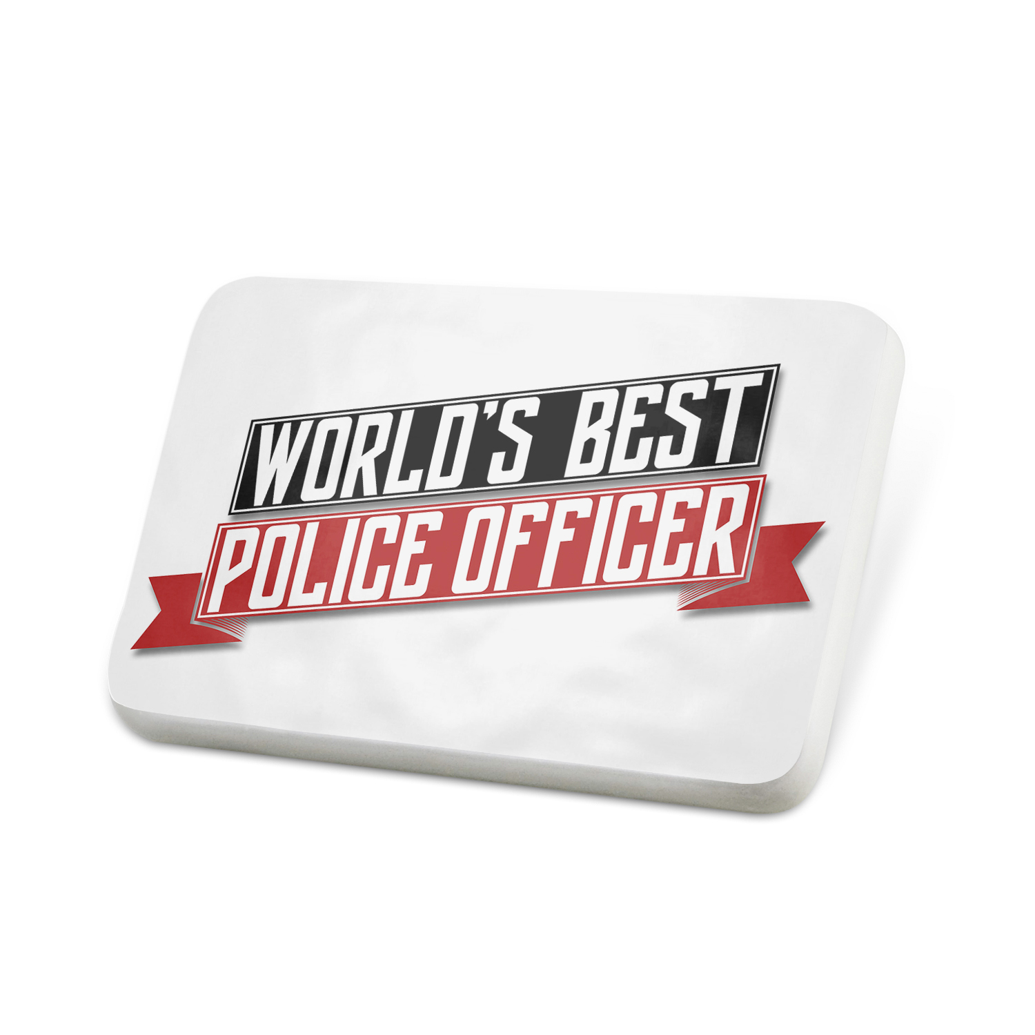 Porcelein Pin Worlds Best Police Officer Lapel Badge – NEONBLOND
