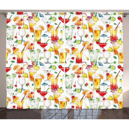 Tiki Bar Curtains 2 Panels Set  Exotic Cocktails Summer Drinks Fresh Juicy Beverages Watercolor Collection Art  Window Drapes For Living Room Bedroom  108W X 96L Inches  Multicolor  By Ambesonne
