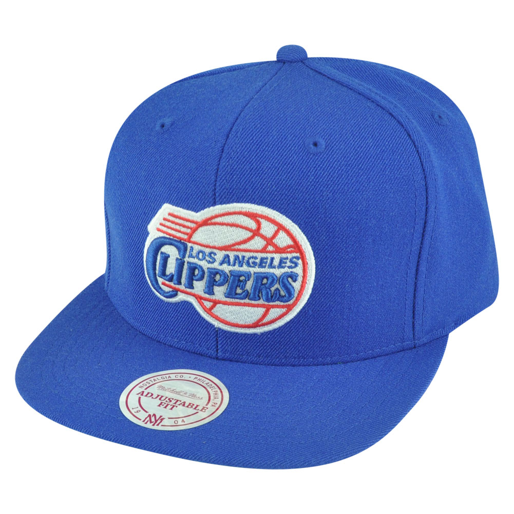 NBA Mitchell Ness LA Los Angeles Clippers NZ979 Wool Solid Blue Snapback Hat Cap