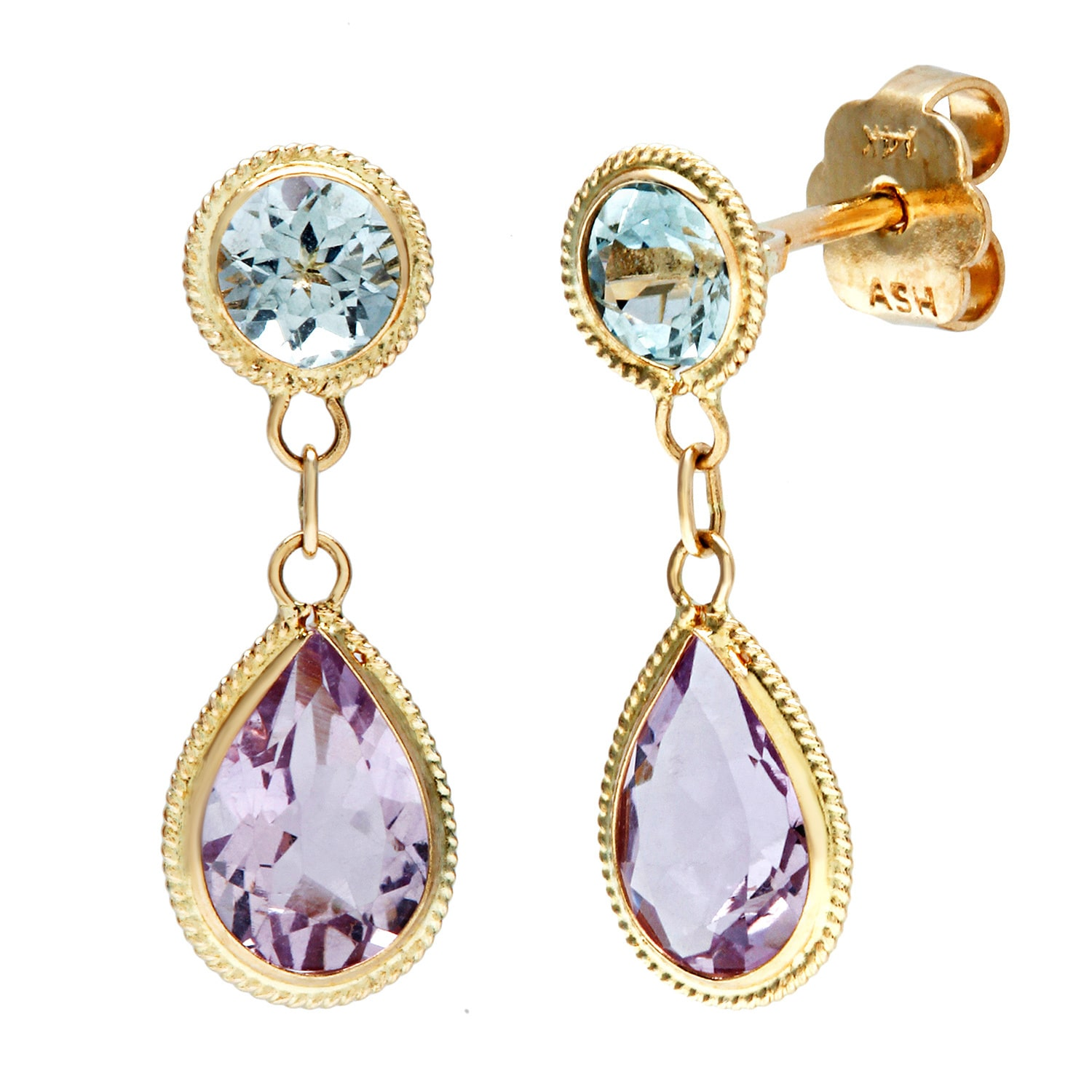 asher jewelry co inc 14k Yellow Gold Blue Topaz and Amethyst Dangle Earrings