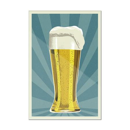 - Pilsner Glass - Letterpress - Lantern Press Poster (8x12 Acrylic Wall Art Gallery Quality)
