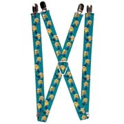 """Hanging Minions Green Suspenders 1.0"""" Wide"""