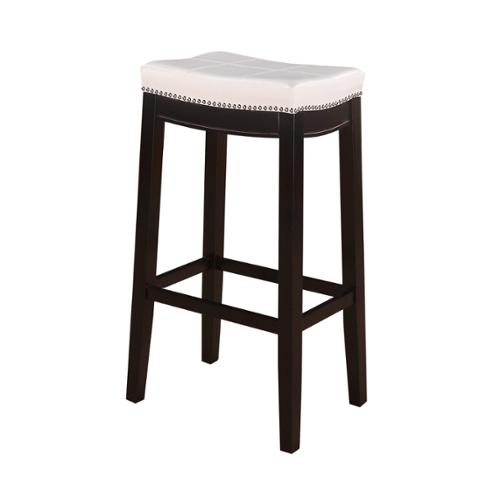 Linon Manhattanesque Backless Bar Stool White Vinyl Seat