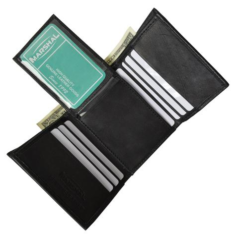 Men's premium genuine leather credit card ID trifold wallet  P3455