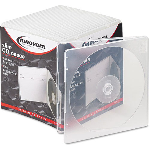 Innovera Slim CD Cases, Clear, 25 Pack