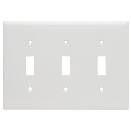 Gang Toggle Plastic Wall Plate - Wall Plate Plastic Three Gang Three Toggle Without Line, White Pass and Seymour
