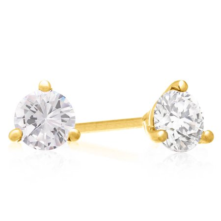1 1/2 Carat Diamond Martini Stud Earrings In 14 Karat Yellow Gold