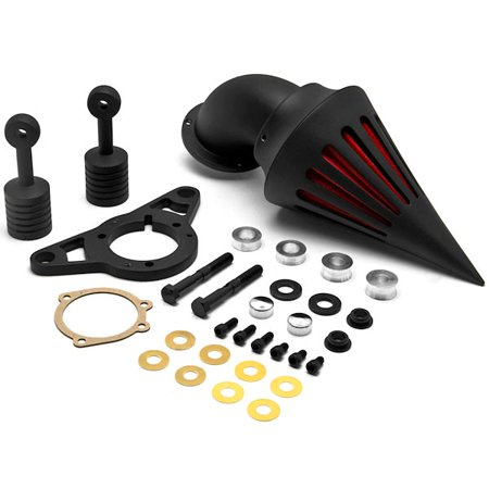 Krator Black Aluminum Cone Spike Air Cleaner Kit Intake Filter for Harley Davidson Softail Night Train Fat Boy Dyna Super Glide Low Rider Wide Glide Touring Road King Road Glide