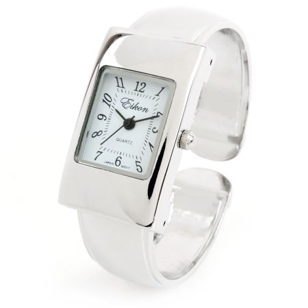 Silver Tone Rectangle Case Small Size Women's Bangle Cuff - Flower Cuff Bangle Watch