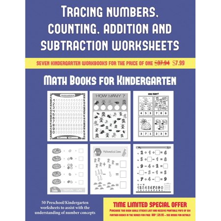 Math Books for Kindergarten (Tracing Numbers, Counting, Addition and Subtraction) : 50 Preschool/Kindergarten Worksheets to Assist with the Understanding of Number Concepts](Halloween Math Worksheets Grade 6)