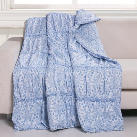 Greenland Home Helena Ruffle Throw Blanket, 50x60-inch, Blue