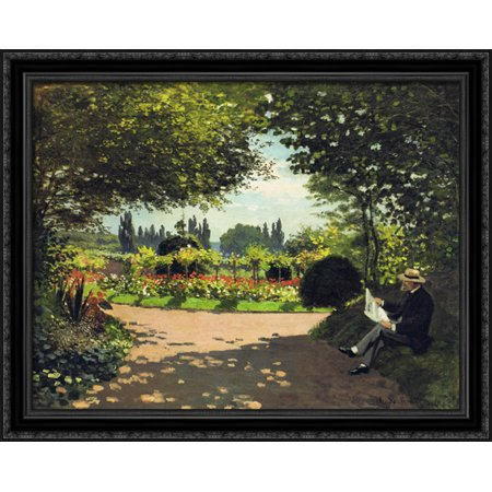 FrameToWall - Adolphe Monet Reading in the Garden 34x28 Large Black Ornate Wood Framed Canvas Art by Claude (Woman Reading Monet)