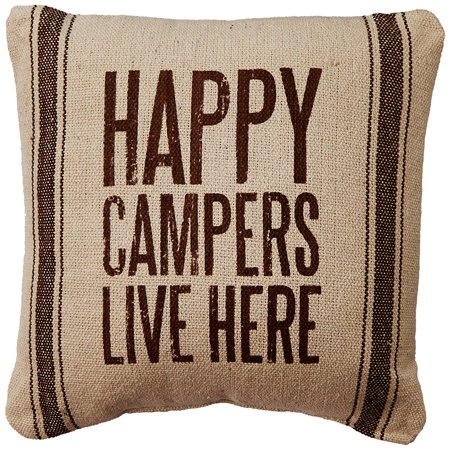Primitives by Kathy Happy Campers 3-Stripes Pillow, 10-Inch by 10-Inch, Brown ()