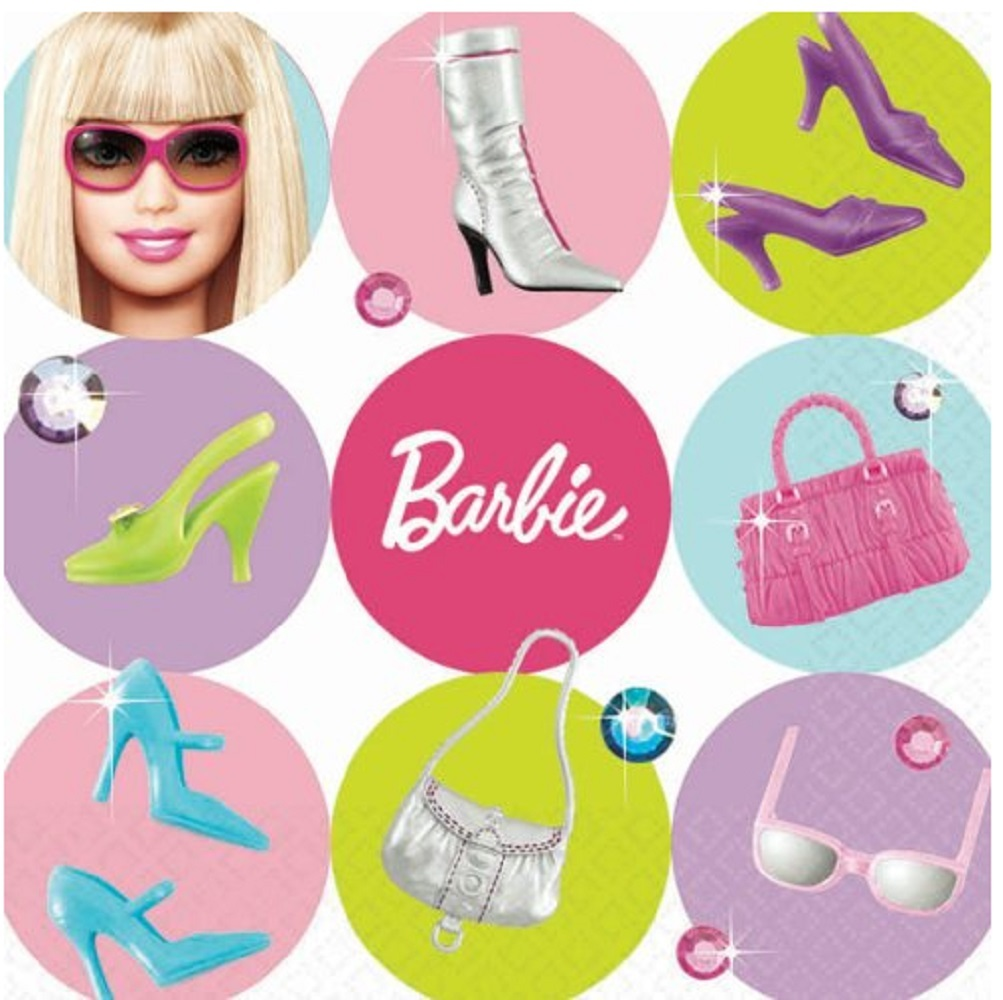Napkins - Barbie - Small - Paper - 2Ply - 16ct - 10 X 10 in - All Dolled Up