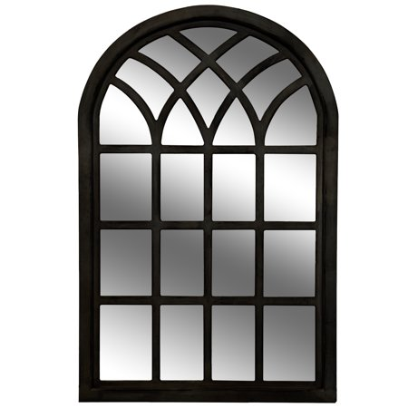 Gallery Solutions Farmhouse Cathedral Windowpane Wall Mirror in Distressed Black 46