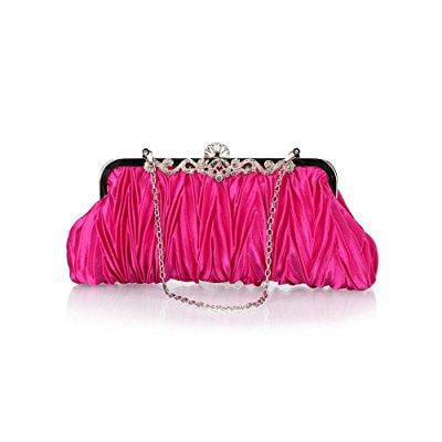 bundle monster womens vintage satin cocktail party handbag w/shoulder chain-pink - Monster Handbag