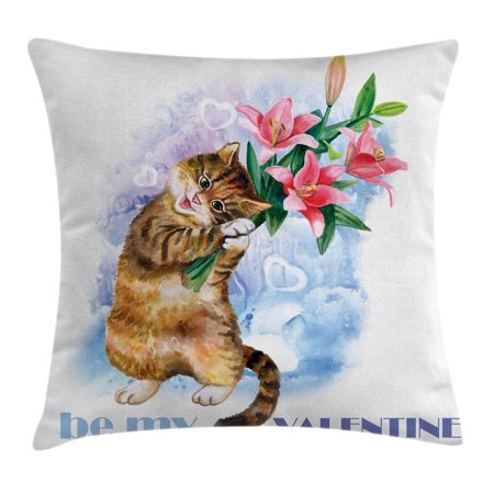 Valentines Day Decor Throw Pillow Cushion Cover, Be My Valentine Little Cute Baby Kitten with Garden Flowers Print, Decorative Square Accent Pillow Case, 18 X 18 Inches, Multicolor, by Ambesonne