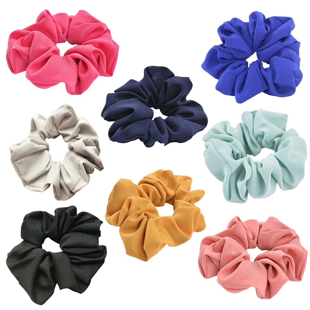 Girl12Queen Girls' Women's Pure Color Cloth Hair Tie Rope Ponytail Holder Elastic Headband