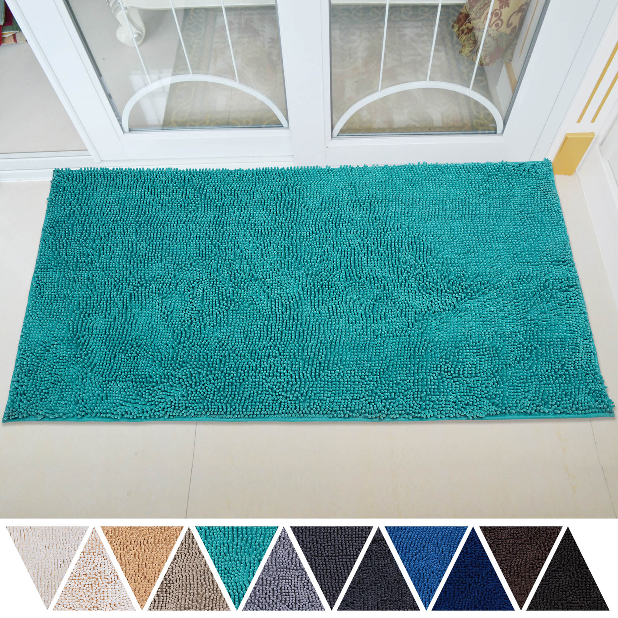 Deartown Non Slip Thick Microfiber Bathroom Rugs Machine Washable Bath Mats With Water Absorbent 31x59 Inches Turquoise Walmart Com Walmart Com