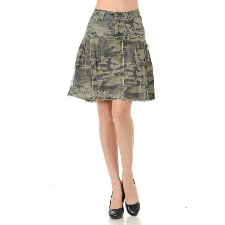 Cargo Jean Skirt - Womens Juniors Sexy Army camo Camouflage Denim Jeans Cargo Ruffled Skirt