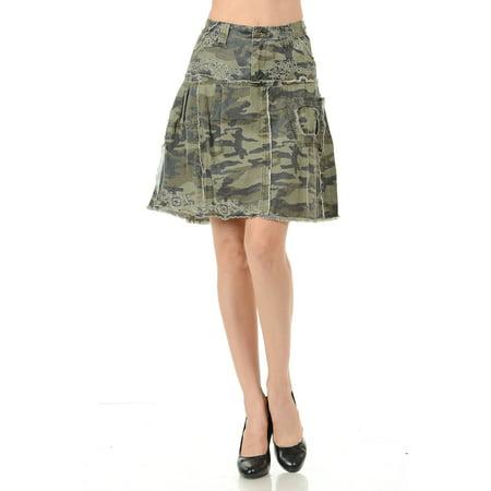 Womens Juniors Sexy Army camo Camouflage Denim Jeans Cargo Ruffled Skirt