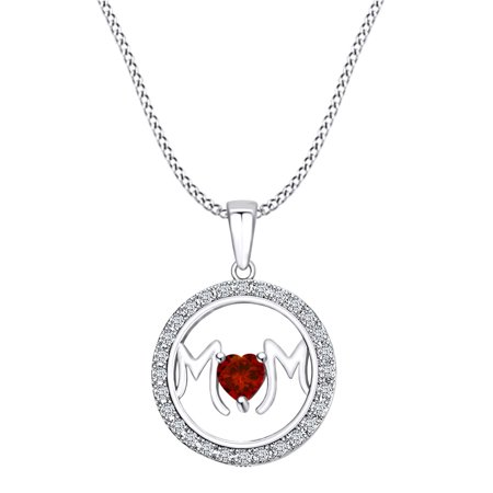 Garnet Circle Pendant (Mother's DAY Jewelry Gifts Simulated Garnet & White Cubic Zirconia Circle Frame Mom Heart Pendant Necklace In 14k White Gold Over Sterling Silver)