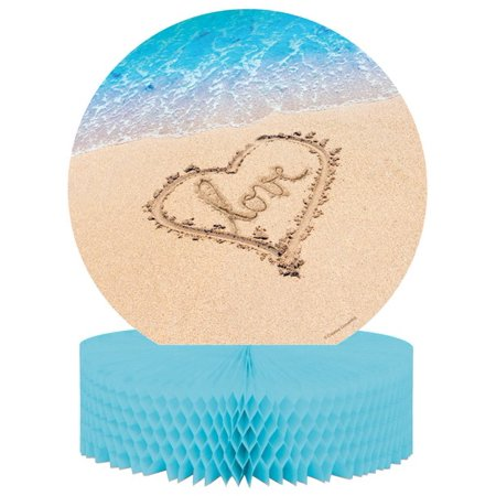 Pack of 6 Beach Love Brown and Blue Die Cut Honeycomb Party Centerpieces 13.75