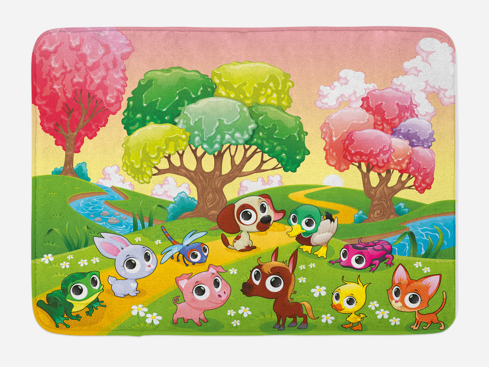 Cartoon Bath Mat, Kids Nursery Theme Animals in the Forest with Nice Flowers Illustration... by 3decor llc