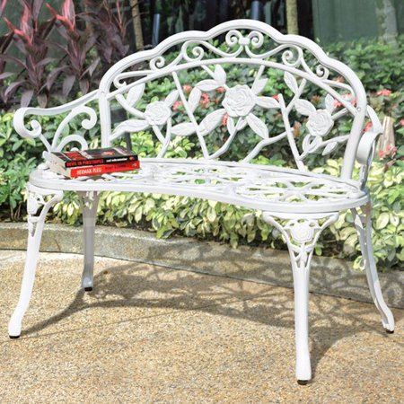 (One Allium Way Alderson Vintage Rose Metal Garden Bench)