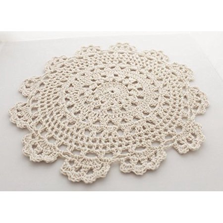Fennco Styles Handmade Medallion Crochet Lace Round Cotton Placemat Doilies - 4 Pack (10-inch, - Crochet Medallion