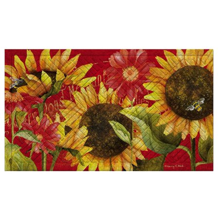 18 Inch Floor Tom - Evergreen Sunflower GardenEmbossed Floor Mat, 18 x 30 inches, Welcome guests to your door with this classically designed mat By Evergreen Flag Garden from USA