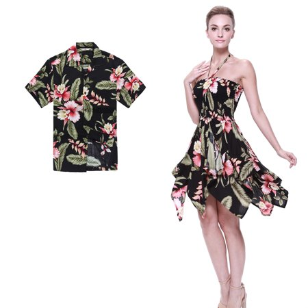 Couple Matching Hawaiian Luau Aloha Shirt Gypsy Dress in Black Rafelsia L - Couples Fancy Dress