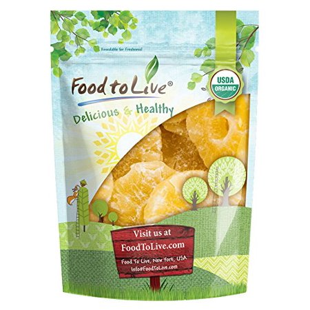 Food to Live Certified Organic Dried Pineapple (Non-GMO, Bulk, Unsweetened, Ring, Chunks, Slices) (2 Pounds)