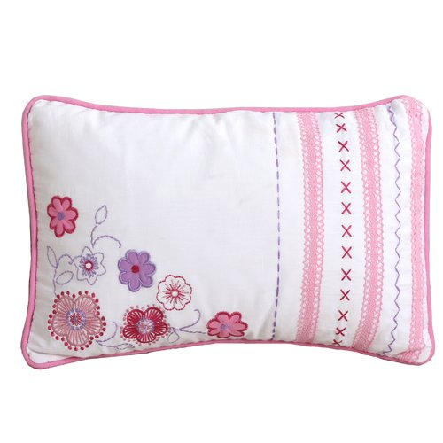 Zoomie Kids Cha Cute Flower Lace Decorative 100pct Cotton Lumbar Pillow
