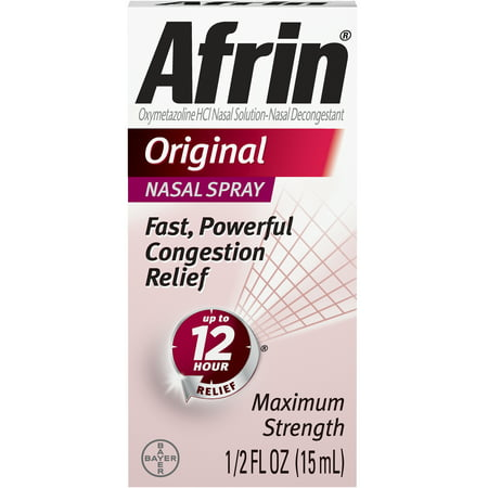 Afrin Original Cold and Allergy Congestion Relief Nasal Spray, 0.5 Fl (Best Way To Relieve Head Congestion)