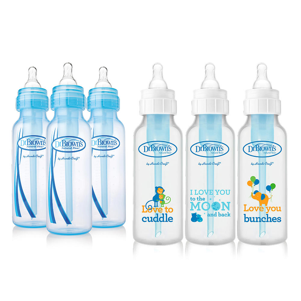 Dr. Brown's Baby Bottles Boys 6 Pack - 3 (8 oz) Blue and 3 (8 oz) Clear bottles