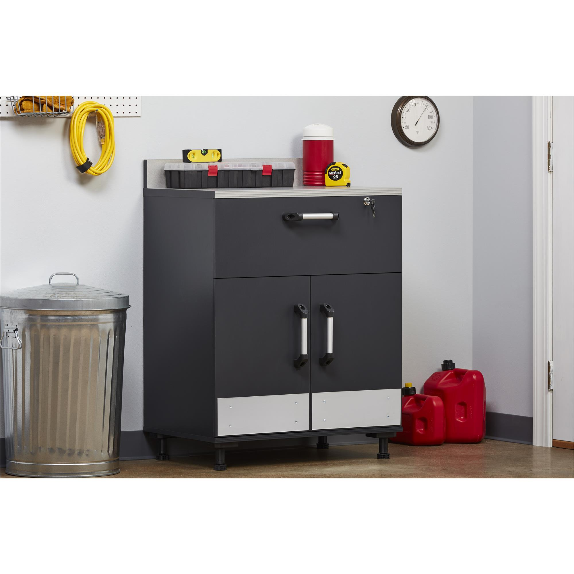 SystemBuild 2 Door and 1 Drawer Base Cabinet, Charcoal Gray