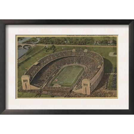 Columbus, Ohio - Ohio State University Stadium from Air Framed Art Print Wall Art - Wigs Columbus Ohio